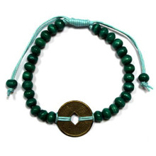 Feng Shui Bracelet - Wood Beads with Chinese Coin - Turquoise Green