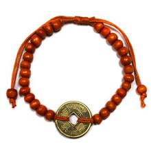 Feng Shui Bracelet - Wooden Beads with Chinese Coin - Orange