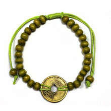 Feng Shui Bracelet - Wood Beads with Chinese Coin - Lime Green