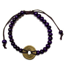 Feng Shui Bracelet - Wooden Beads with Chinese Coin - Purple