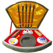 Chinese Writing Set / Calligraphy Set with 5 Brushes and Case - Small