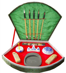 Chinese Writing Set / Calligraphy Set with 5 Brushes and Case - Large