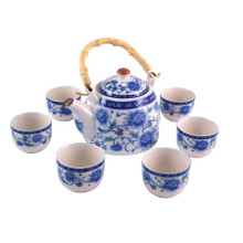 Chinese Tea Set - Blue and White Ceramic - Peony Pattern - Gift Box
