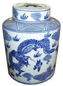 Tea Caddy / Storage Jar - Chinese Blue Dragon Pattern - 20cm Tall