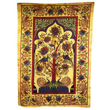 Indian Bedspread - Throw - Ethnic Wall Hanging - Tree of Life - Brown Cotton