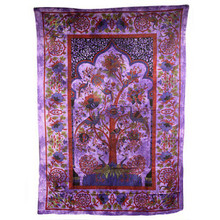 Indian Bedspread - Throw - Ethnic Wall Hanging - Tree of Life - Purple Cotton