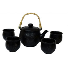 Chinese Tea Set - Black Ceramic - Etched Plum Branches Pattern
