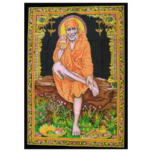 Indian Cotton Wall Art Print with Sequins - 77cm x 107cm - Sai Baba