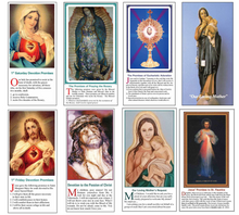 Special - All 8 Sets of Holy Cards @ 25 per packet - English - 1st Friday Devotion, 1st Saturday Devotion, Promises of Praying the Rosary, Devotion to the Passion, Promises For Adoration, Our Loving Mother, Our Loving Mother's Request & Divine Mercy