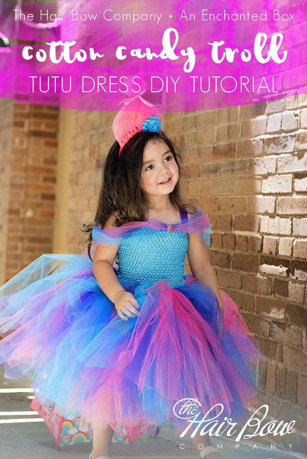 Cotton candy troll tutu dress diy the hair bow company diy cotton candy troll tutu dress solutioingenieria Image collections
