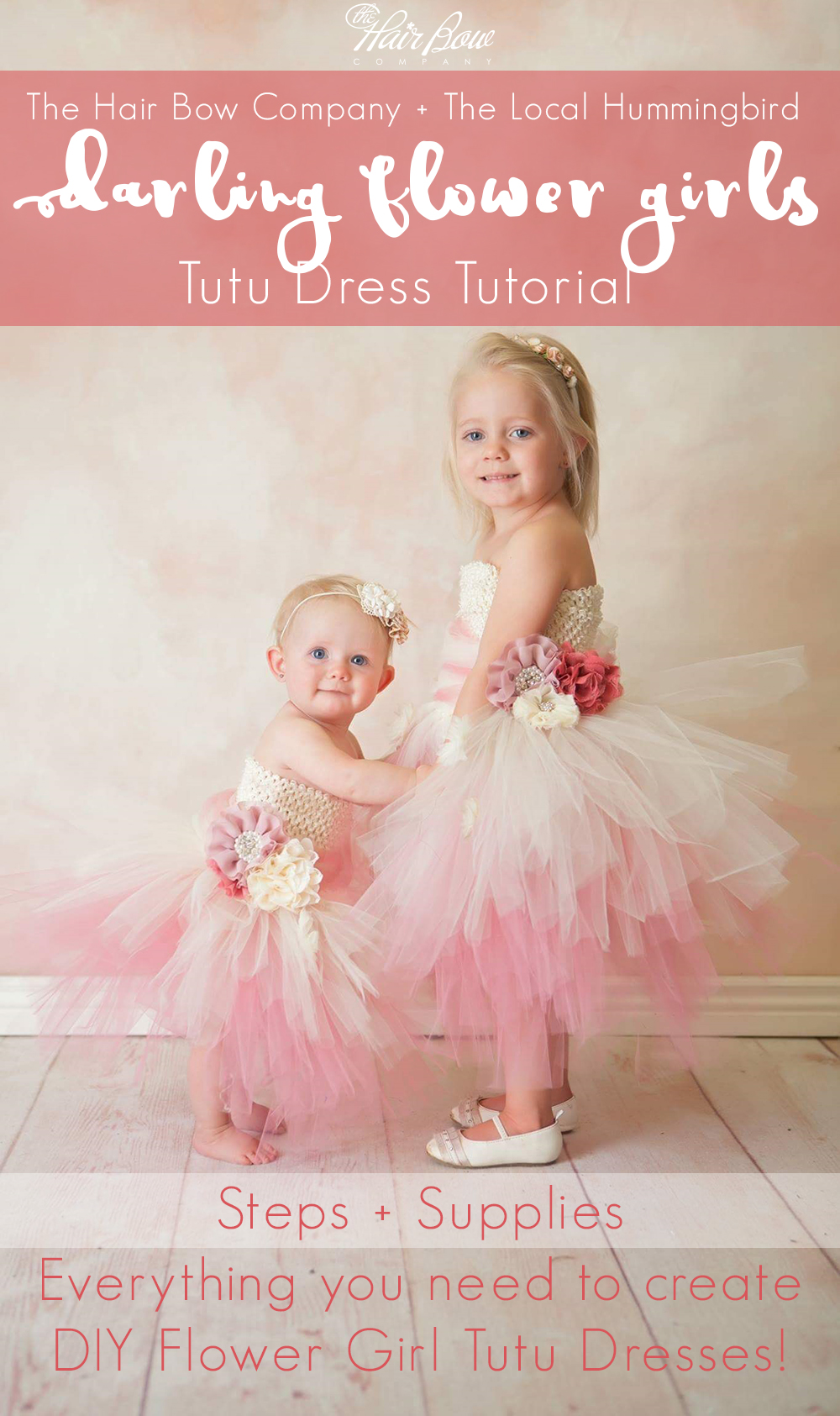 A Dusty Rose, Coral, and Ivory DIY Flower Girl Tutu Dress Tutorial.
