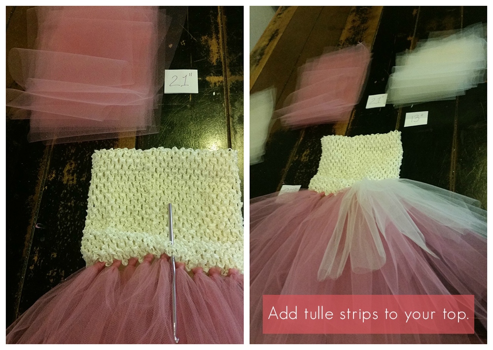 Adding tulle strips to a crochet top to make a tutu dress.