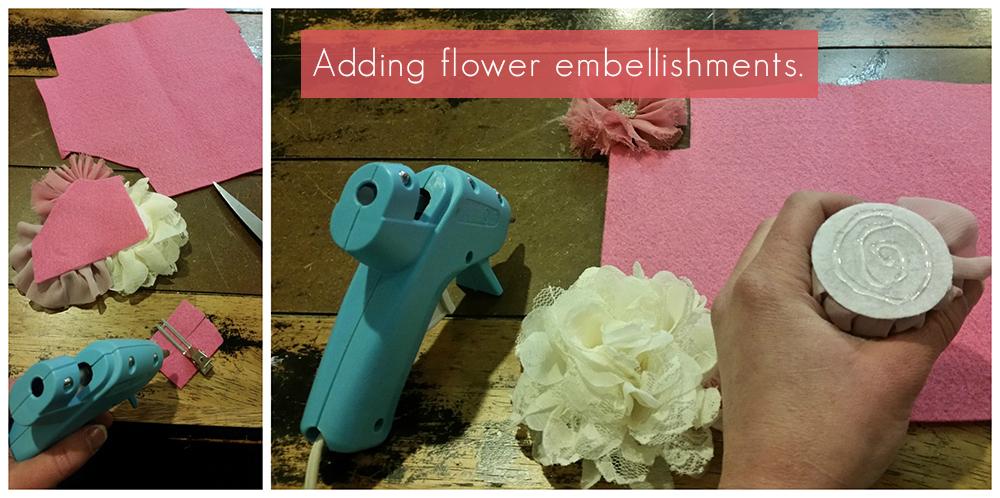 Adding flower embellishments to a DIY Flower Girl Tutu Dress.