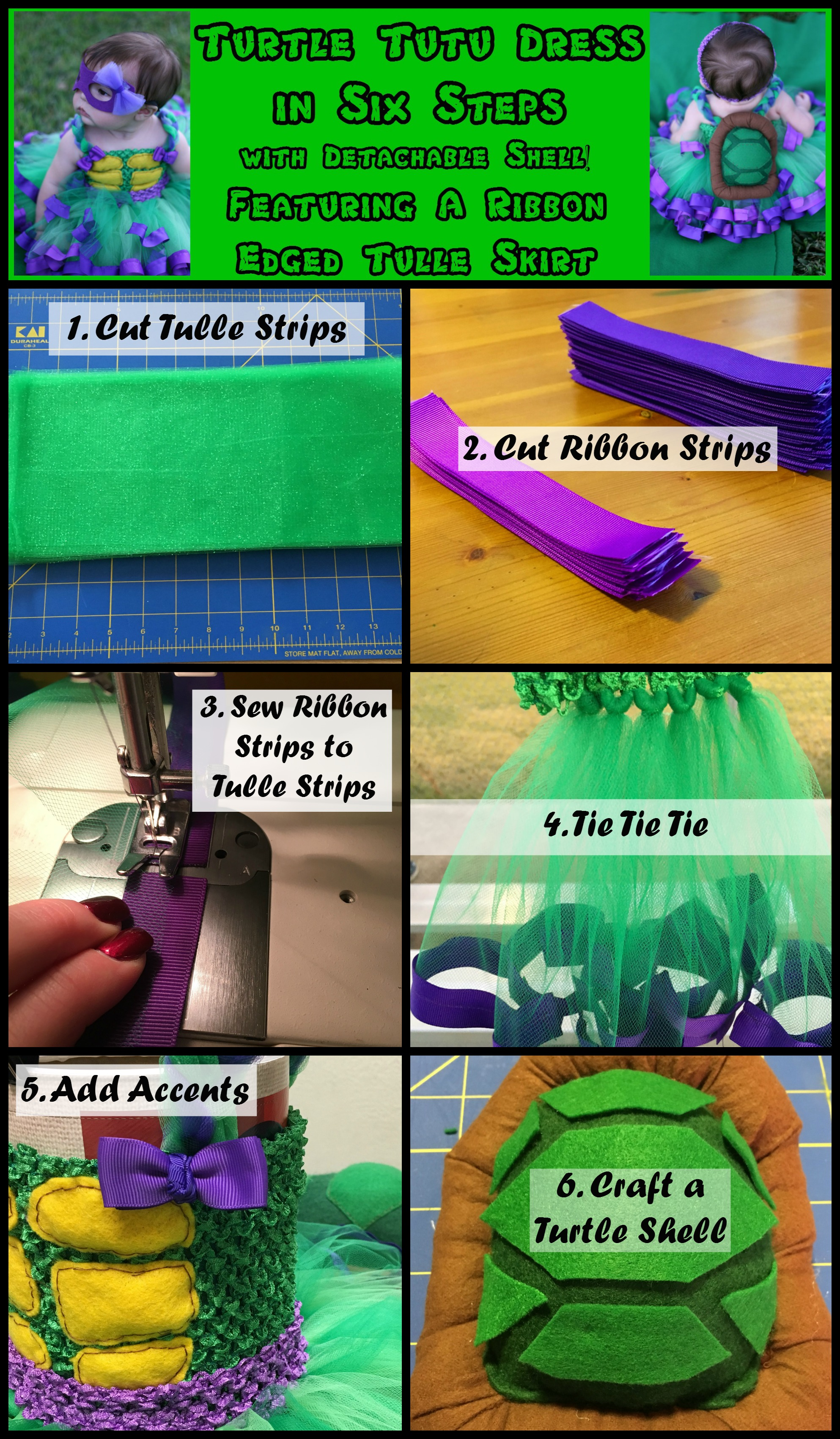 Purple Ninja Turtle Tutu Dress Tutorial How To Make A Ribbon Edged Tutu  Dress The Hair