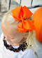 Orange Classic Oversized Grosgrain Hair Bow