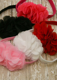 Hot Pink, Black, Red, White, and Light Pink Chiffon and Tulle Flower Headbands