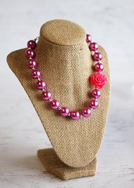 Solid Hot Pink Chunky Bead Necklace