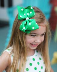 Kelly Green Polka Dot Classic Oversized Hair Bow