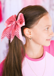 Pink Sequin Cheer Hair Bow