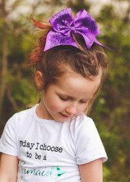 Purple Sequin Cheer Hair Bow