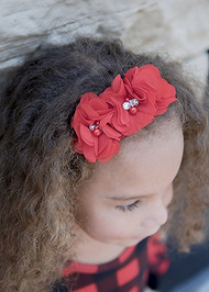 Chiffon Flower Gold Glitter Headband in red.