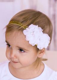 Chiffon Flower Gold Glitter Headband