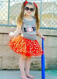 Gold Dot Tutu in Red