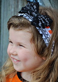 Aztec Pumpkin Print Halloween Headband with Sequin Bow