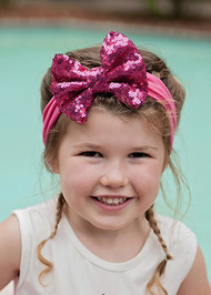 Solid Sequin Bow Headband