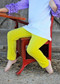 Solid color girls' leggings in Yellow