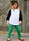 Solid color girls' leggings in Green