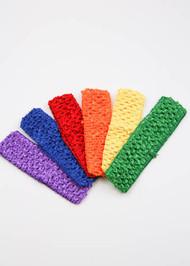"""Bold Rainbow 1.5"""" Crochet Headband Variety Pack (6)"""