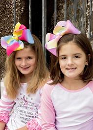 "7"" Texas Size Rainbow Hair Bows for girls."