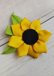 Sunflower grosgrain ribbon hair clip with alligator clip backing.