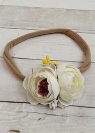 "White/ivory floral embellished large nylon hair tie or ponytail holder for girls. Fits best as a headband if you stretch the band before wearing. 9"" un-stretched, approximately 14"" stretched."