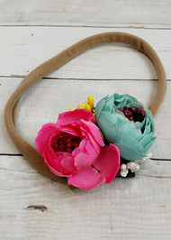 "Aqua and hot pink floral embellished large nylon hair tie or ponytail holder for girls. Fits best as a headband if you stretch the band before wearing. 9"" un-stretched, approximately 14"" stretched."
