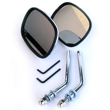 Mirror Set, Chrome, Rectangle, Screw in style, BSA, Norton, Triumph, Emgo 20-34800