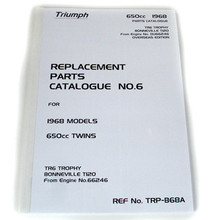 """Full Size"" Triumph Parts Book, 1968 650cc Twins, TR6 Trophy, T120 Bonneville Motorcycles"