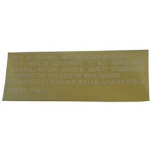 Sticker/Decal, Safety Standard, Triumph T140 Motorcycles, 60-2452
