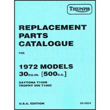 Triumph Parts Book for years 1960-1965 Triumph 350/500cc, 1966-1974 Triumph 500cc Twins, 1973-1974 Triumph TR5T Motorcycles, 18-500/