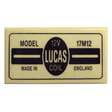 17M12 Lucas Coil Sticker, BSA, Norton, Triumph Motorcycles, 45276/STICKER