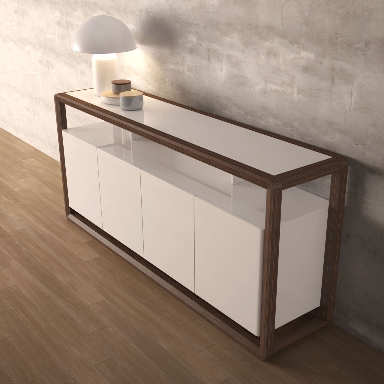 Florence Lift Up Storage White Gloss Coffee Table: FLORENCE Sideboard 1.8 Metres Walnut And White Gloss