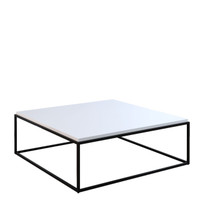 GRID Square Coffee Table White Gloss with Black Legs