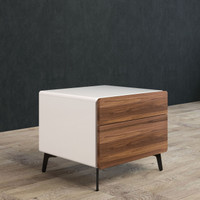 BRANDO Bedside Unit 50cm Walnut and White