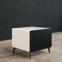 BRANDO Bedside Unit 50cm Black Oak and White