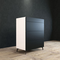 BRANDO Tallboy 80cm Black Oak and White