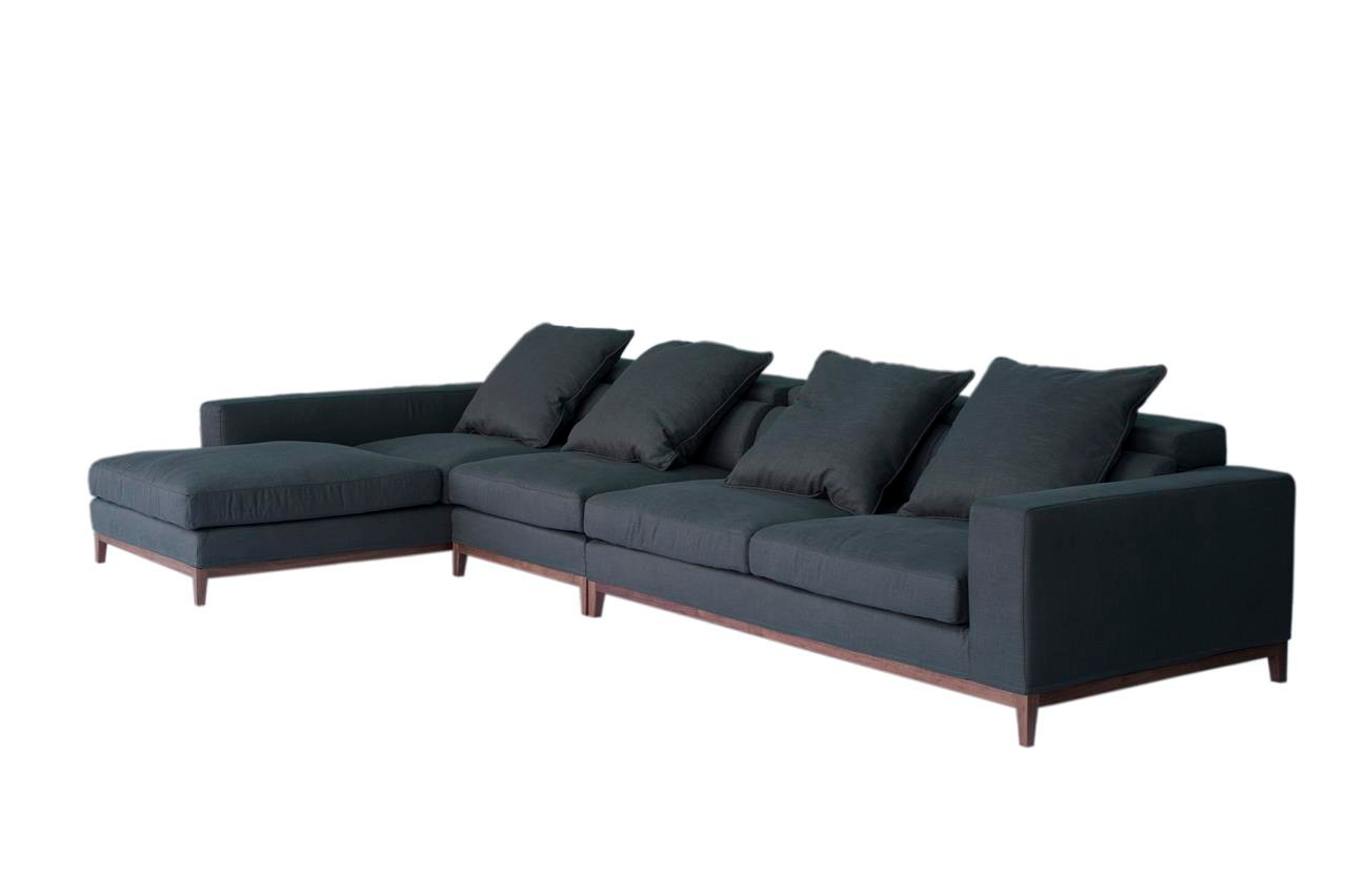 Oslo sofa 4 seater long chaise left grey fine weave for Chaise long sofa