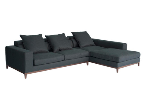Oslo sofa 3 seater long chaise right grey fine weave for Chaise long sofa