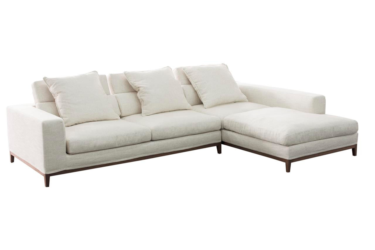 Oslo sofa 3 seater long chaise right cream soft to for Chaise long sofa