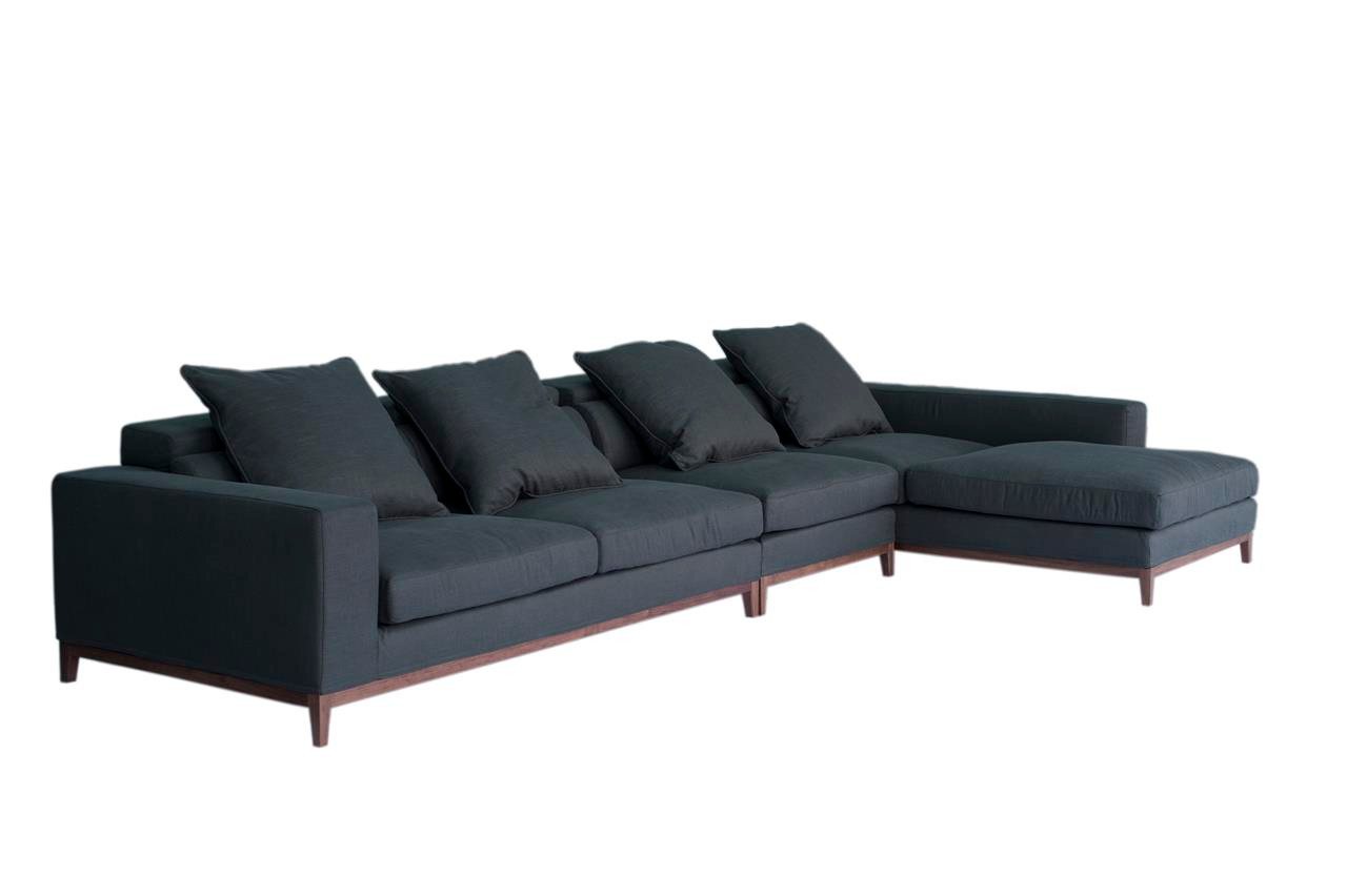 Oslo sofa 4 seater long chaise right grey fine weave for Chaise long sofa